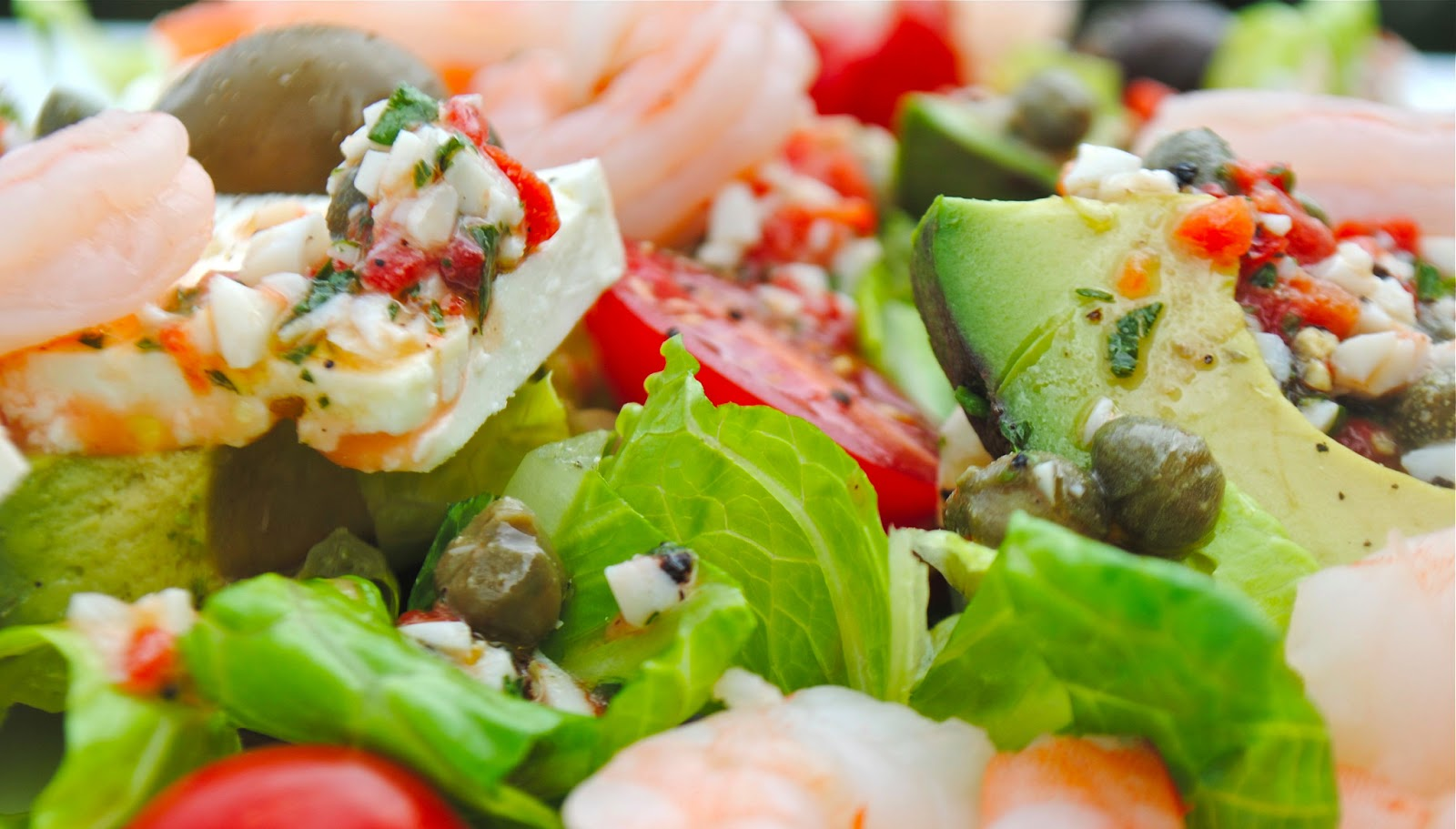 GREEK SALAD WITH AVOCADO, SHRIMP AND CAPER VINAIGRETTE and ...
