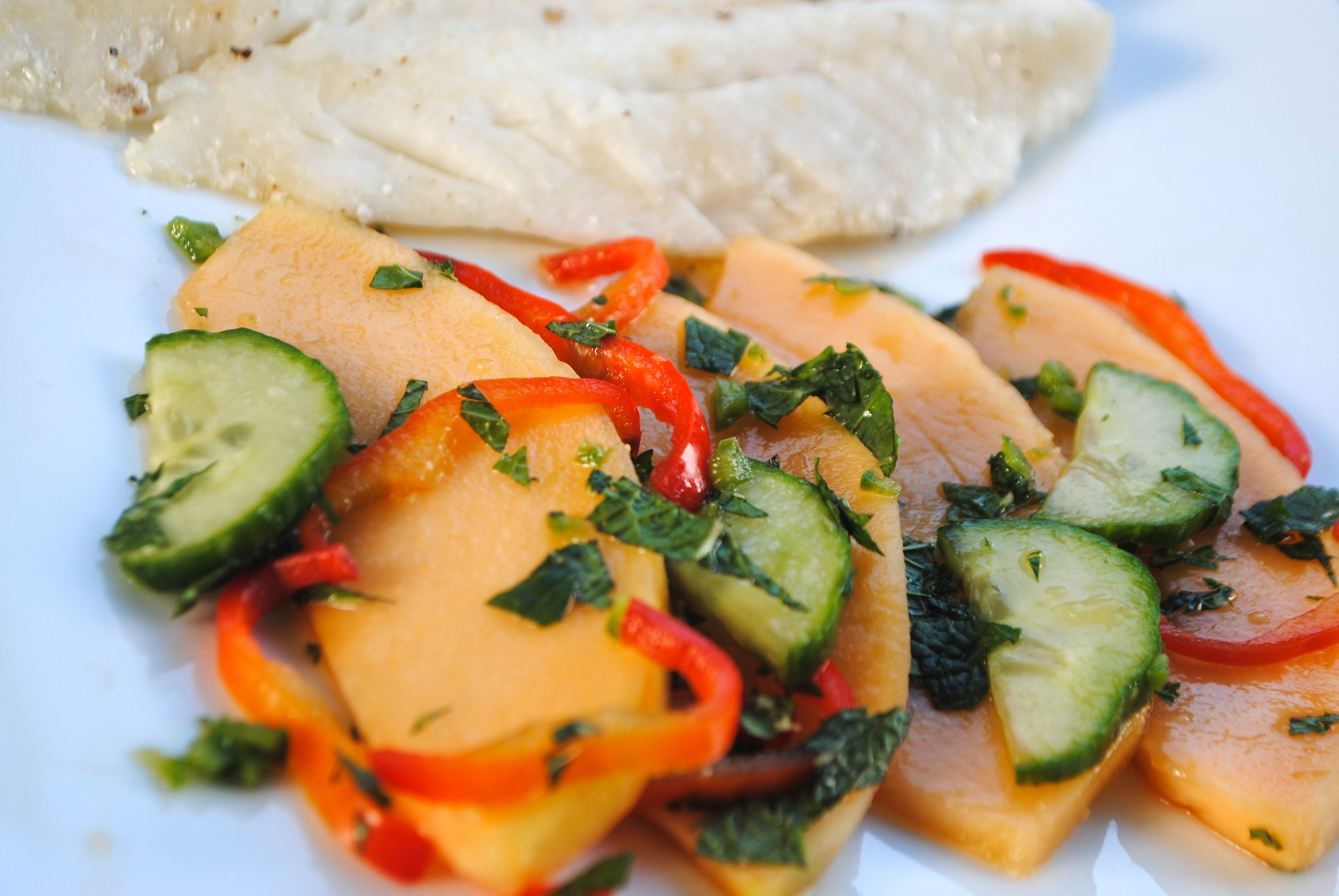 GRILLED FISH WITH SPICY CANTALOUPE CUCUMBER SALAD