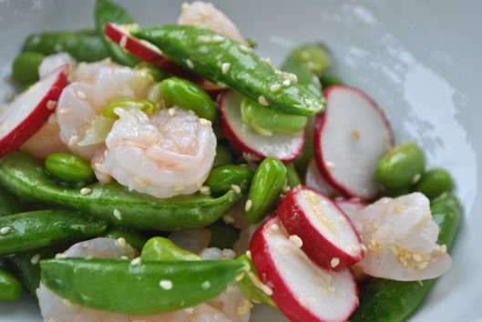 shrimp sugar snap pea salad