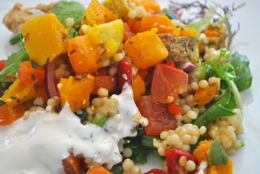 My lunch - the Mediterranean vegetable falafel salad with tahini yogurt - delicious!