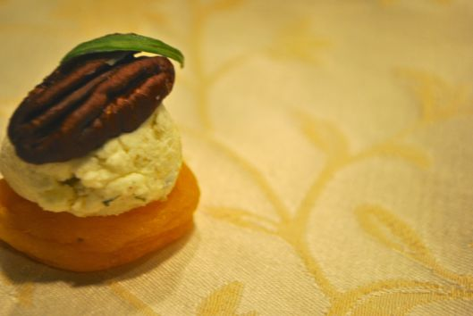 pecan and tarragon stuffed apricots