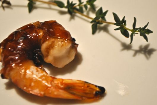 grilled proscuitto wrapped shrimp with marsala glaze