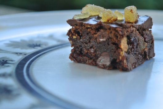 orange scented brownies with ginger and pistachios