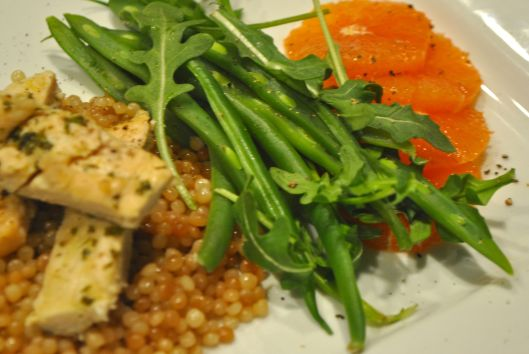 chicken palliard with couscous and citrus salad