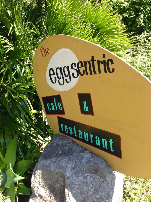 The sign outside the Eggsentric Cafe