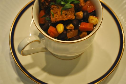 black bean chili with cornbread croutons