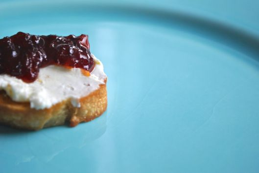 goat cheese crostini with blood orange black pepper marmalade