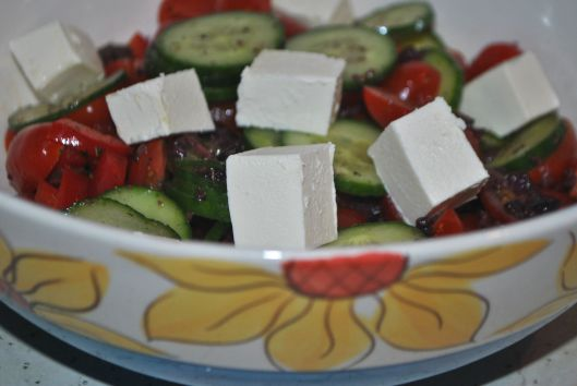 greek salad with olive dressing