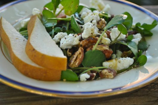 pear watercress goat cheese salad