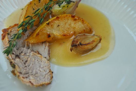 pork tenderloin with pears and shallots