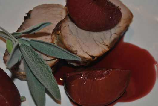 roasted pork loin with poached plums