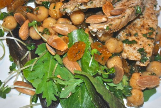 moroccan chicken salad with apricots and almonds