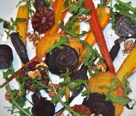 roasted carrot and beet salad with blood oranges