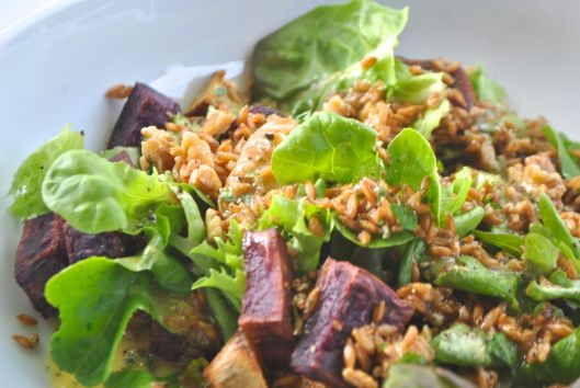 sweet potato farro salad with lemon thyme vinaigrette