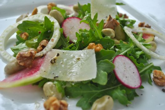 fava bean salad with fennel and radish