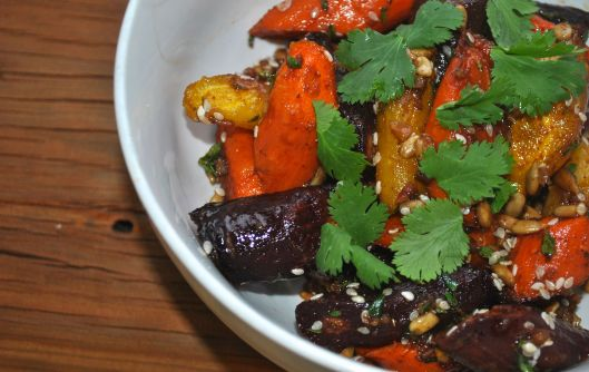 roasted carrots with a sunflower seed vinaigrette
