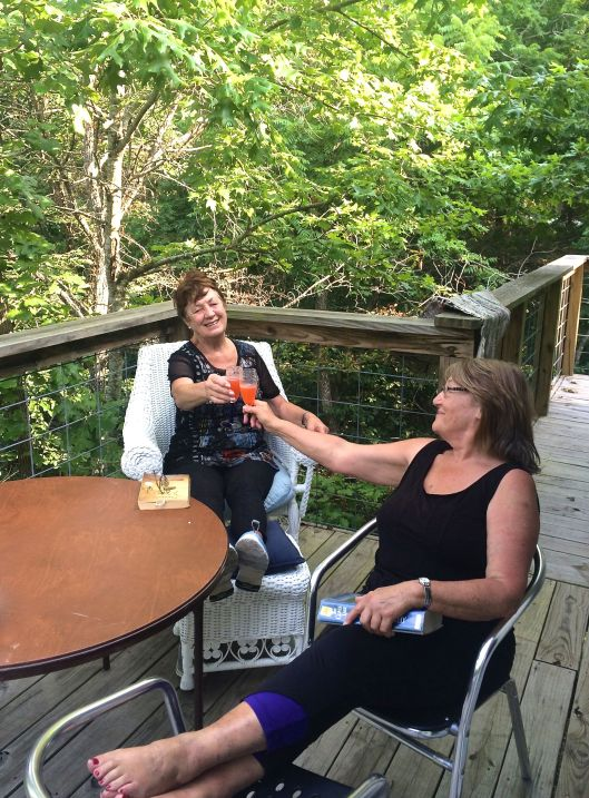 mum and aunty marion at the lakehouse