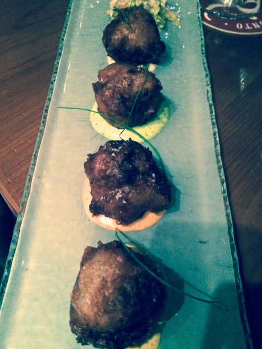 the gorgeous Beer Battered Crab Beignets with Four Remoulades