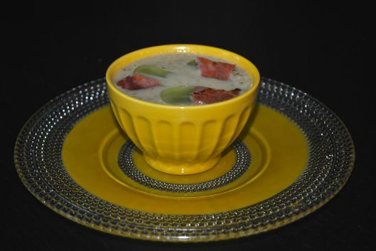 white gazpacho with crispy ham