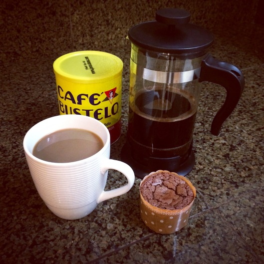 cafe bustelo and chocolate muffin