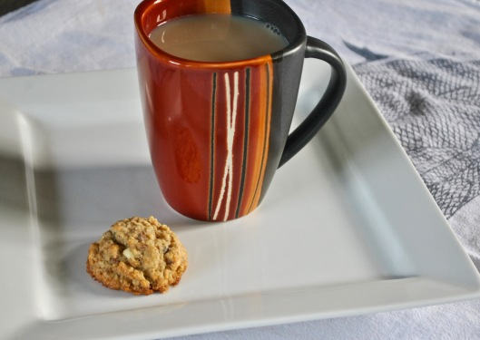 oatmeal chocolate chip cookie with mug