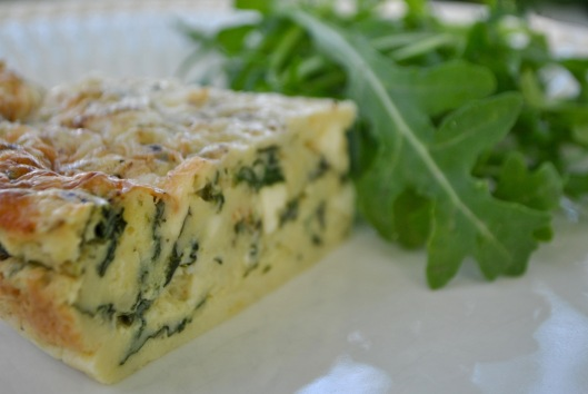 crustless spinach onion and feta quiche