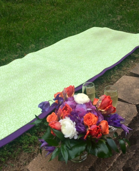 flowers and yoga mat