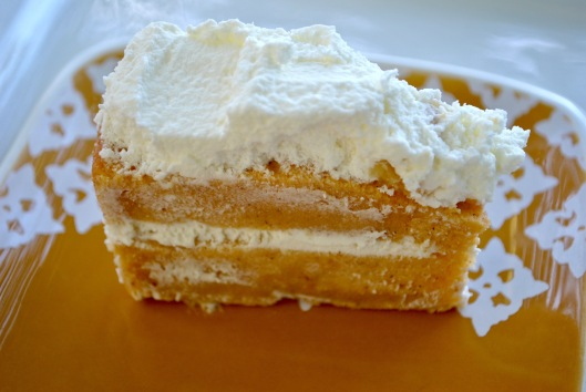 pumpkin angel food cake with ginger cream filling