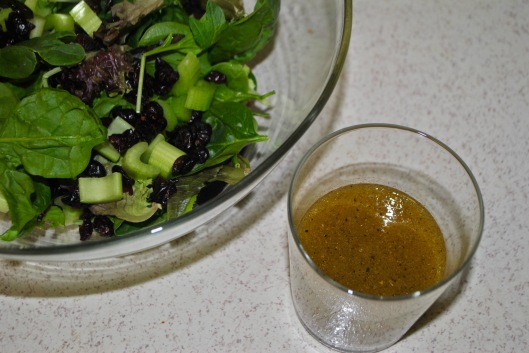green salad with crranberries and celery