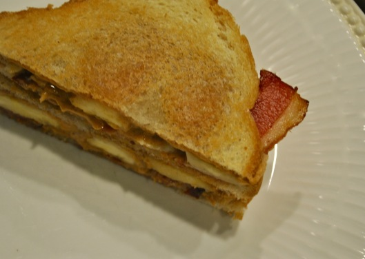 peanut butter and banana and bacon sandwich