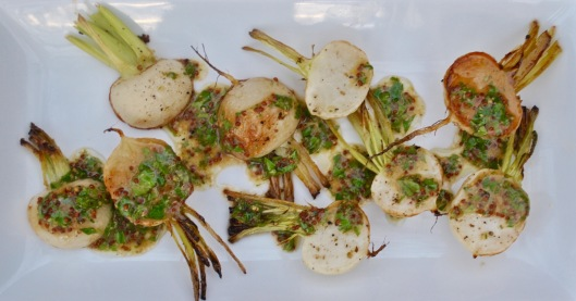 roasted turnips with a parsley mustard vinaigrette