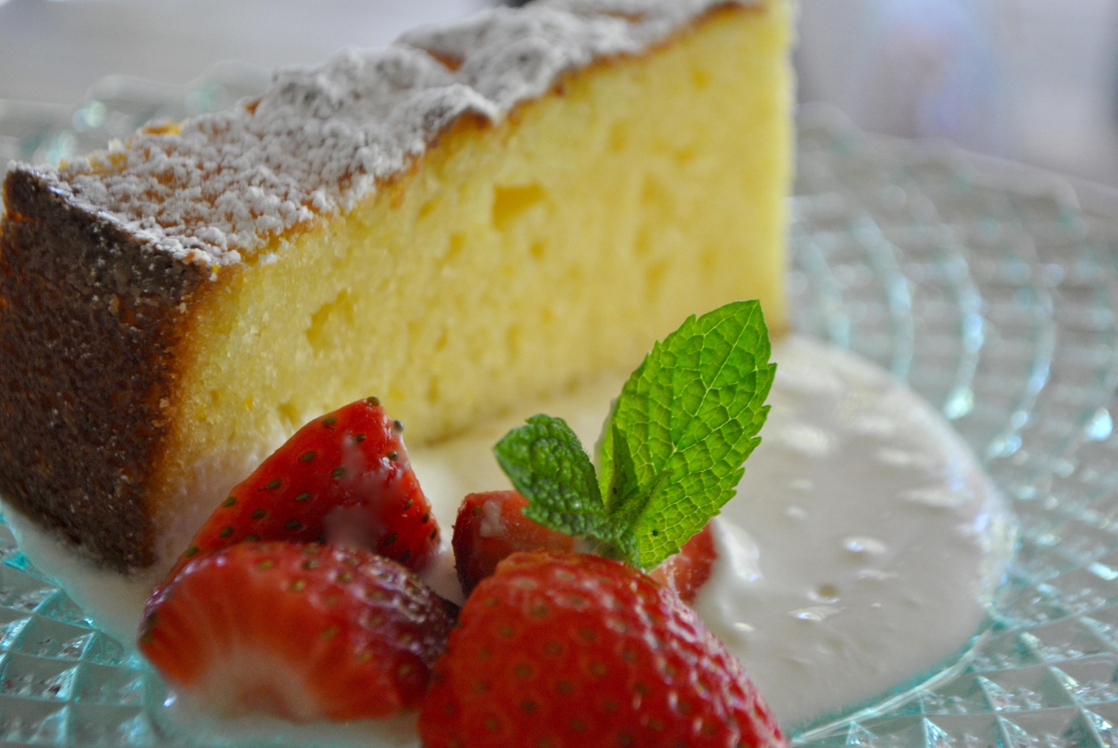 Ricotta Orange Pound Cake With Prosecco Strawberries