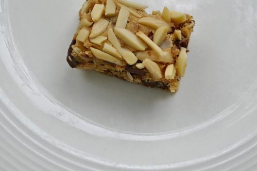 chocolate chip and almond slice