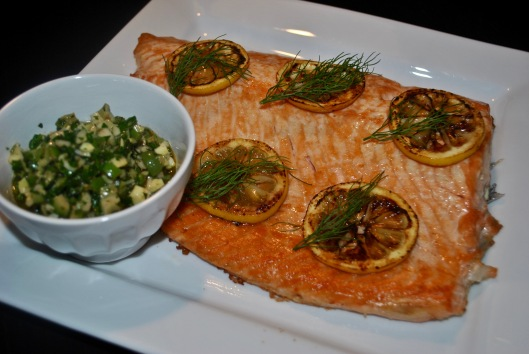 crisp baked salmon with fennel olive relish