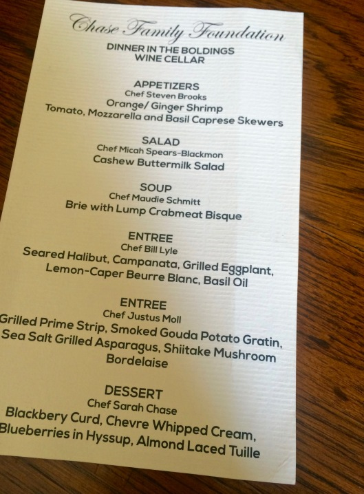 the delectable menu, put together especially for the evening