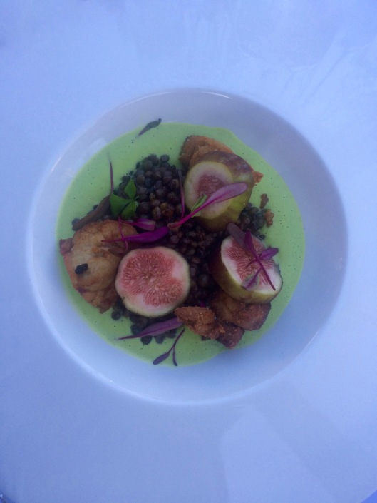 the crispy veal sweetbreads, summer squash, figs, lentils