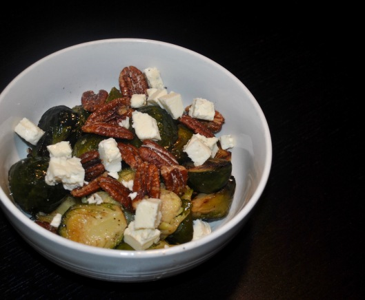 brussels sprouts with blue cheese and glazed pecans