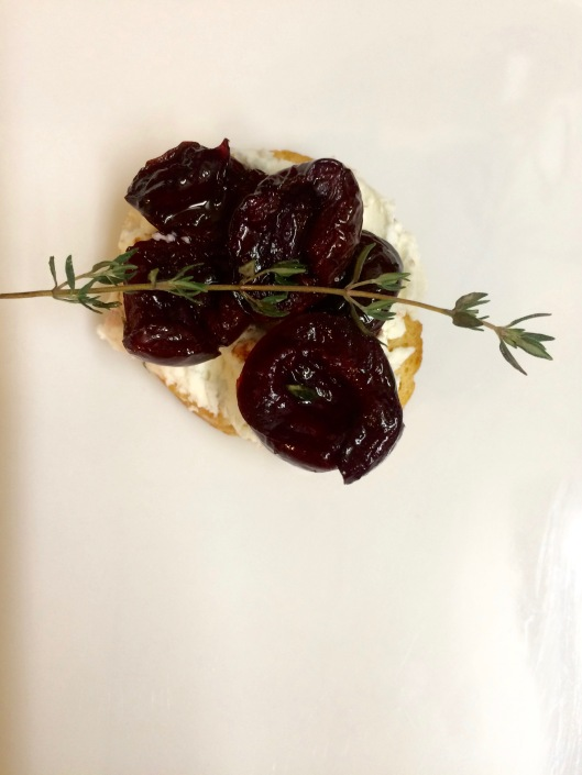 fresh cherry bruschetta