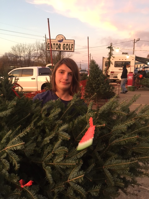 Joe carrying out our 2016 Christmas Tree